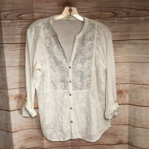Anthropologie Tiny Embroidered Button Down